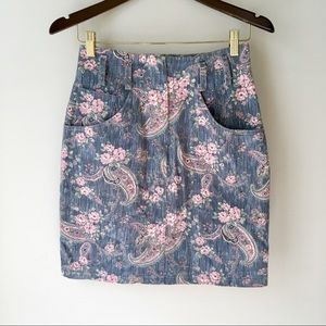 VINTAGE High Waist Paisley Denim Mini Skirt